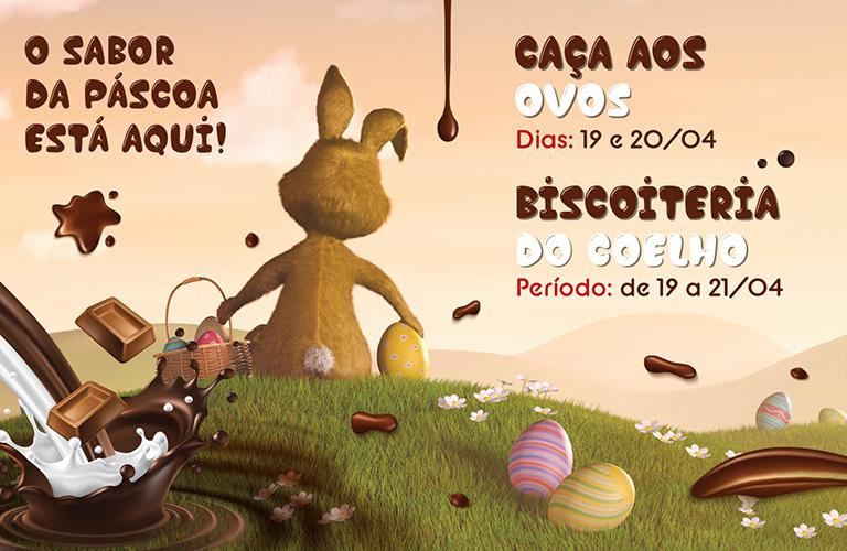 Caça aos ovos e oficina de biscoito na Páscoa do Shopping Frei Caneca